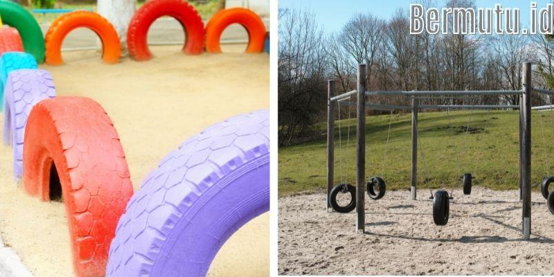 Inspirasi Dekorasi Desain Taman Bermain Anak - manfaatkan barang bekas