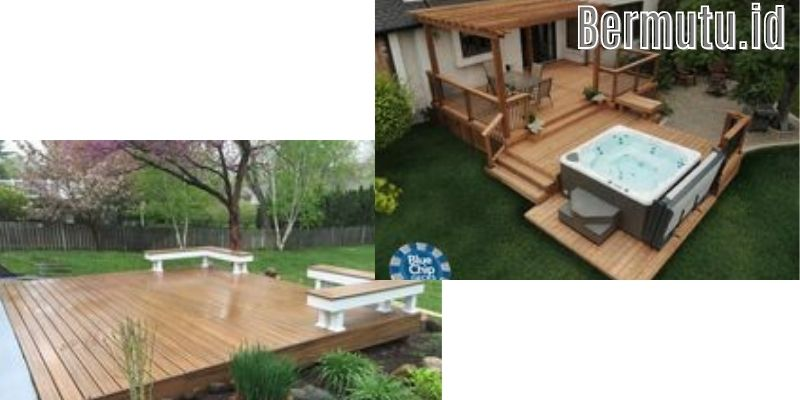 Inspirasi Dekorasi Desain Taman Bermain Anak - menggunakan lantai kayu outdoor