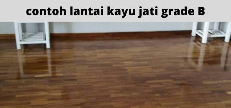 contoh lantai kayu parket jati grade B